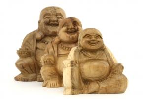 Wooden Laughing Buddha (Large, Medium, Small)