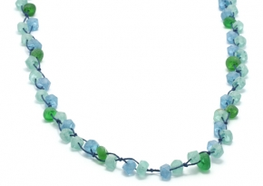 Recycled Glass Bead + Ceramic Necklace