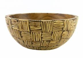 Medium Wooden Bowl White Coconut shell Inlay in Weaving Motif