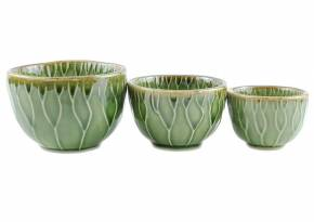 Mini Set of 3 Ceramics Bowl Lotus Celadan