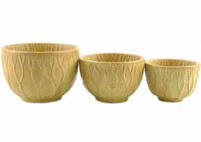 Mini Set of 3 Ceramic Bowl Lotus Tan