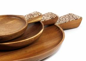 Set of 3 Plates with Handle White Cinnamon Inlay