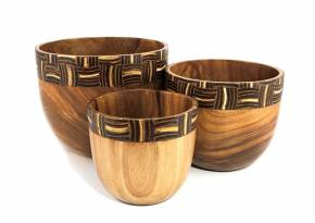 Set of 3 Wooden Bowl Oval Black & White Coconut shell Inlay