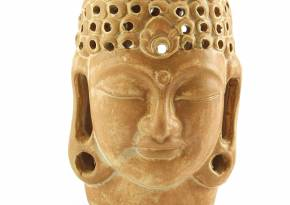 Ceramic Buddha Head Tealight Holder Tan