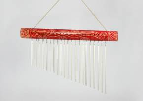 Chime Horizontal Etched Red Bamboo-Aluminum Tubes