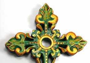 Wooden Cross Green Gold